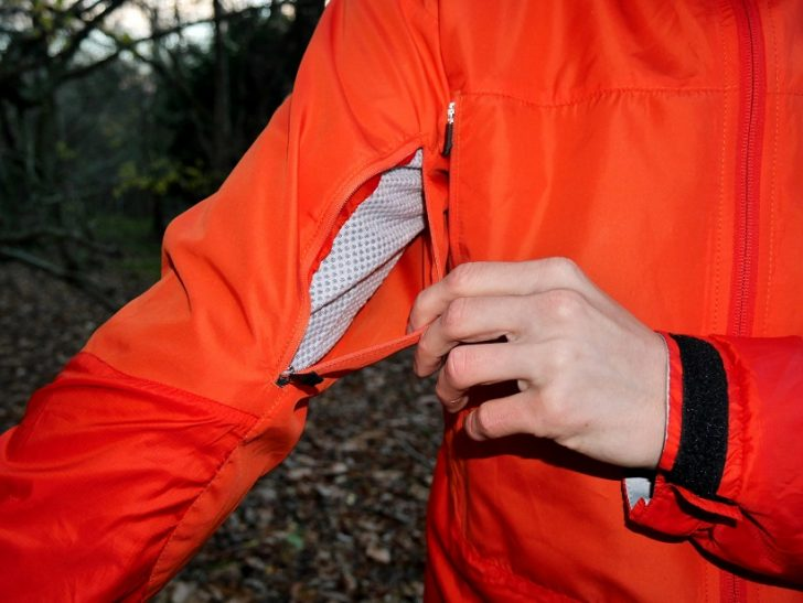 Sleeve ventilation zips on rain jacket